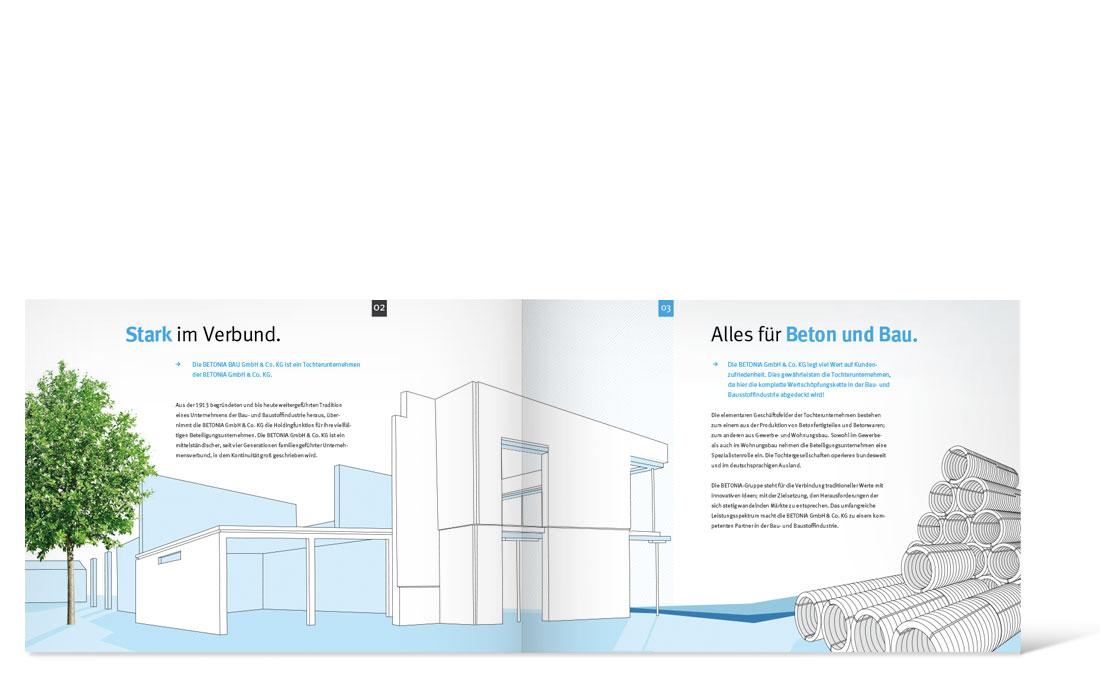 Betonia Bau   Imagebroschüre Doppelseite