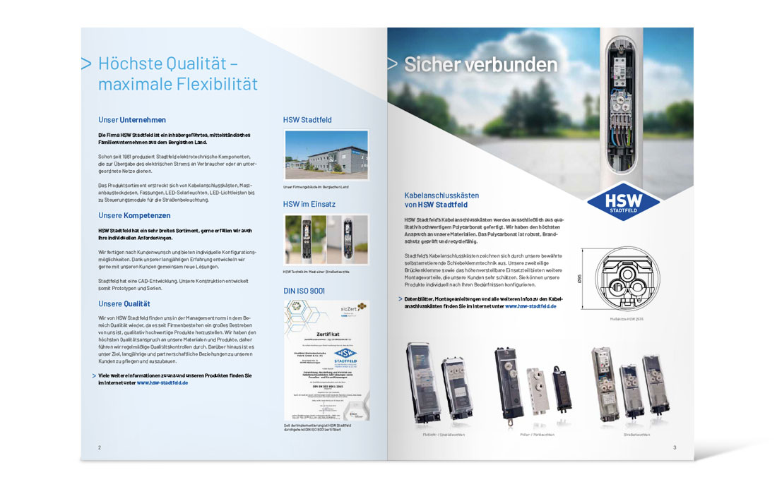 "HSW Stadtfeld | Katalog ""Kabelanschlusskästen"" Doppelseite"